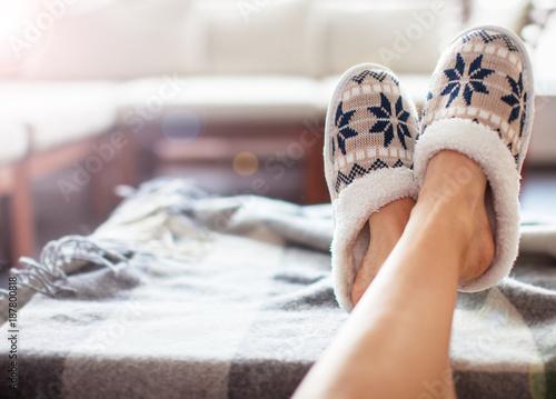 Fotografía  Soft comfortable home slipper