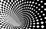 Fototapeta Do przedpokoju - Geometric Black and White Abstract Hypnotic Worm-Hole Tunnel - Optical Illusion - Vector Illusion Checkered Op Art