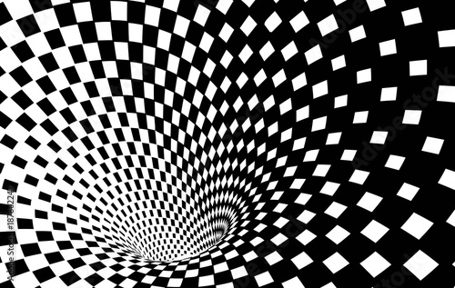 Geometric Black and White Abstract Hypnotic Worm-Hole Tunnel - Optical Illusion - Vector Illusion Checkered Op Art