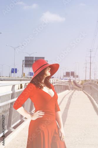In de dag Illustratie Parijs Full length portrait of fashion woman in red dress