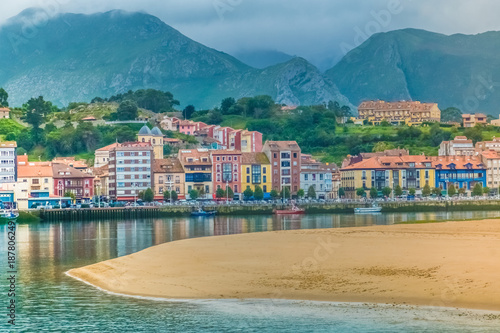 Photo  The beautiful town of Ribadesella, on the Cantabrian Sea, birthplace of the Spanish Queen, Principality of Asturias, Northern Spain