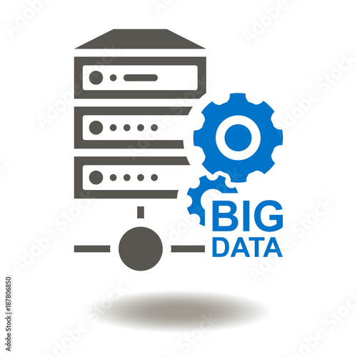 Big Data Server Icon Vector  Database Center Illustration