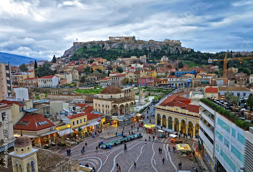Printed kitchen splashbacks Athens A View of the Acropolis and of Monastiraki quarter in Athens from above