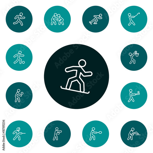 Set Of 13 Fitness Outline Icons Set Poster