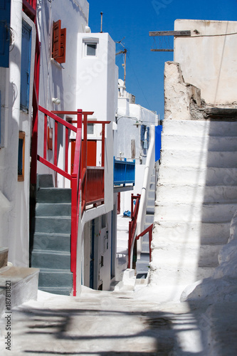 Deurstickers Smal steegje Mykonos street view with white stairs and coloured balconies, kora village, Mykonos island, Greece.