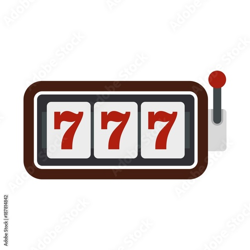Tela Slot machine with three sevens icon, flat style