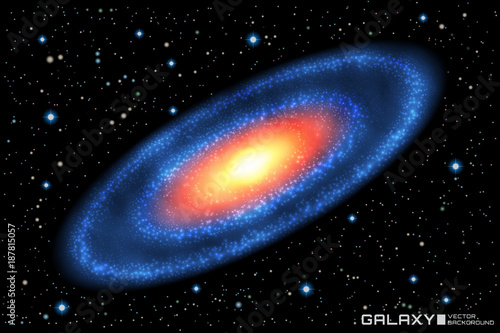 vector illustration of realistic spiral galaxy on star cosmic