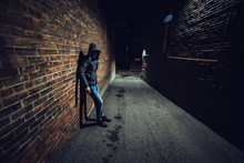 Suspicious Man In Dark Alley W...