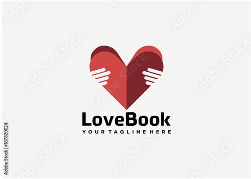 Love Book Logo Template Design Vector, Emblem, Design Concept, Creative Symbol, Wallpaper Mural