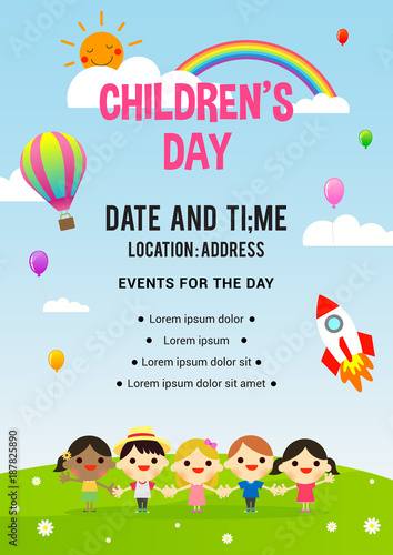 children s day poster invitation vector illustration group of kids