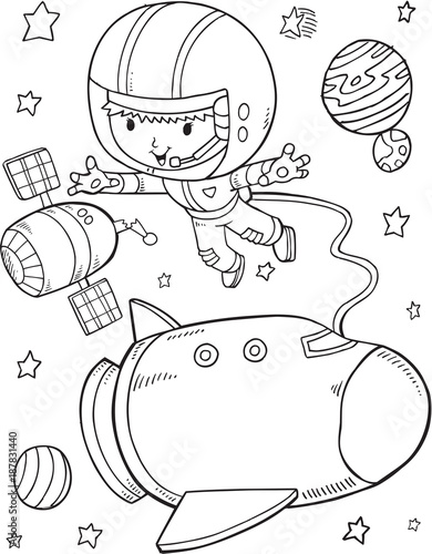 Fotobehang Cartoon draw Outer Space Astronaut Space Shuttle Vector Illustration Art
