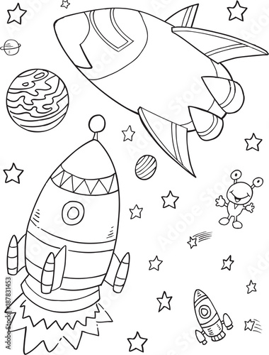 Poster Cartoon draw Outer Space Rocket Vector Illustration Art
