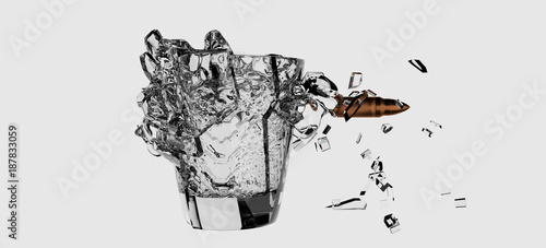 Foto disparo vaso de cristal con agua