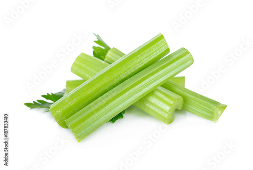 fresh celery with leaf on white background