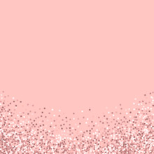 Pink Gold Glitter. Abstract Bottom With Pink Gold Glitter On Pink Background. Delightful Vector Illustration.