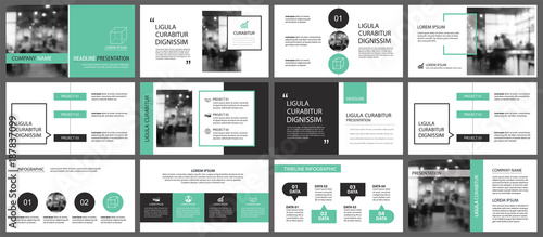 Fototapeta Green and white element for slide infographic on background. Presentation template. Use for business annual report, flyer, corporate marketing, leaflet, advertising, brochure, modern style. obraz