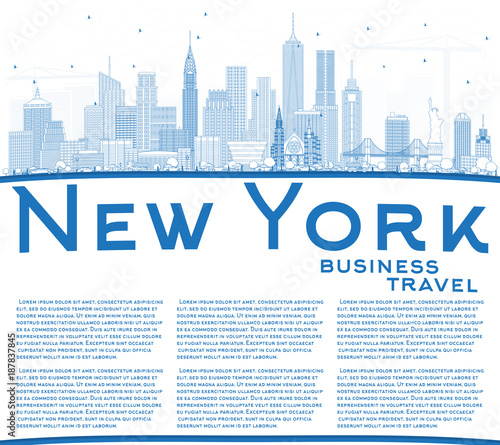 Outline New York USA City Skyline with Blue Buildings and Copy Space Wallpaper Mural