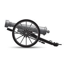Isolated Antique Cannon Vector Cartoon