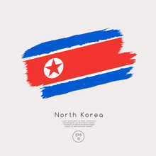Flag Of North Korea In Grunge Brush Stroke : Vector Illustration