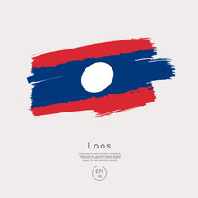 Flag Of Laos In Grunge Brush S...