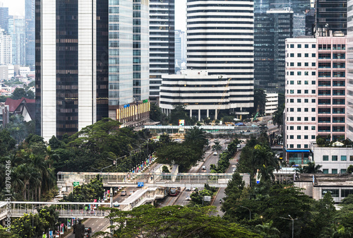 Fotografia  Aerial view of the Sudirman avenue in the heart of Jakarta business district in