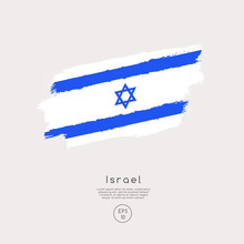 Flag Of Israel In Grunge Brush...