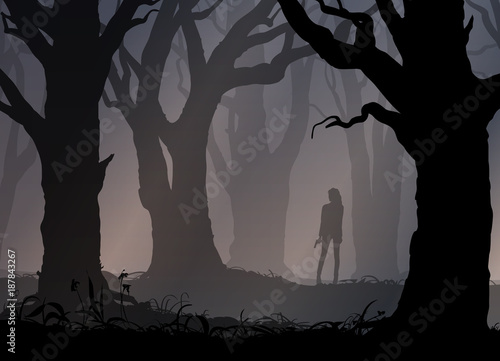 girl with a gun in the forest, vector illustration Canvas Print