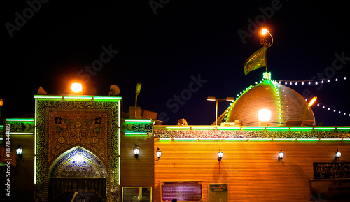 Night view to House of Ali Mosque in Kufa, An-Najaf, Iraq Canvas Print