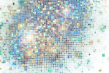 Abstract Glittering Geometric Texture With Golden, Blue And Green Pixels. Fantasy Fractal Design. Digital Art. 3D Rendering.
