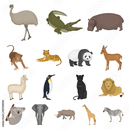 Photo Different animals cartoon icons in set collection for design
