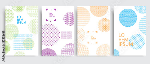 Poster Retro sign Set of covers with circles and different colored geometric patterns