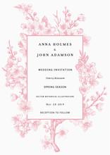 Sakura. Wedding Invitation. Pink Cherry Blossom Branch. Vector Botanical Illustration.