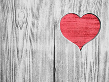 Red Heart Carved In A Wooden Board. Background. Postcard, Valentine.