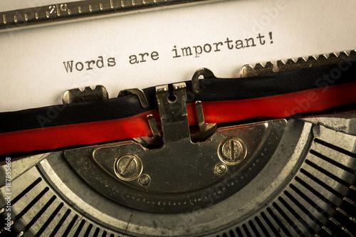 """Fotografia, Obraz  Macchina da scrivere """"Word are important"""""""