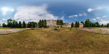360 Panorama View Near Abandoned Homestead Castle With Ghost. Full 360 By 180 Degrees Seamless Panorama  In Equirectangular Spherical Projection. Skybox For VR Content
