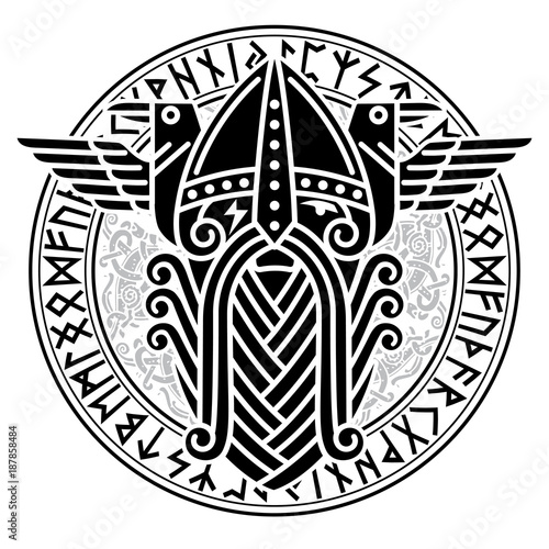 Photo  God Wotan and two ravens in a circle of Norse runes
