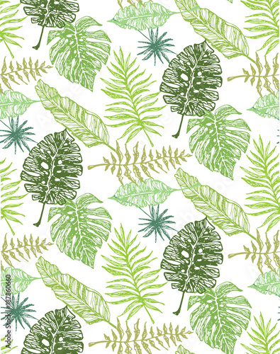 hand drawn doodle palm tree leaves pattern buy this stock