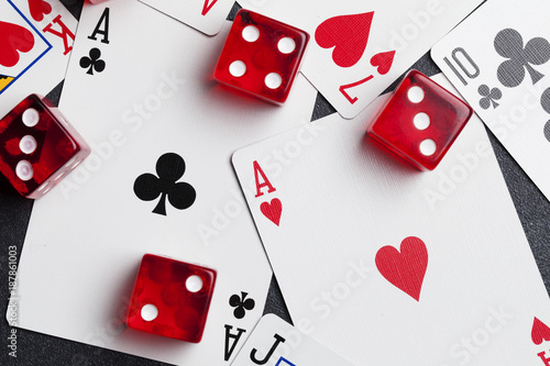 Ace playing cards with red dice плакат