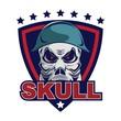 Skull in military helmet and gas mask logo