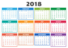 Colorful Calendar 2018, Template. Week Starts From Sunday. Illustration