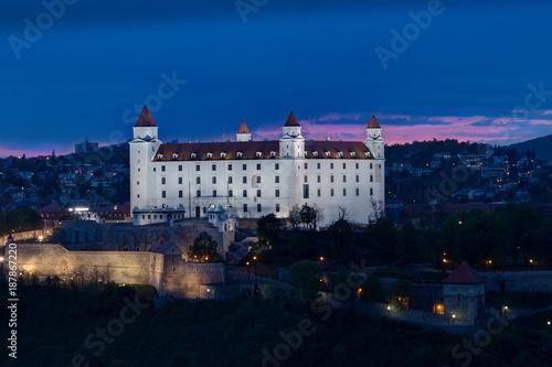 Photo  Bratislava castle over Danube river in night , Bratislava, Slovakia
