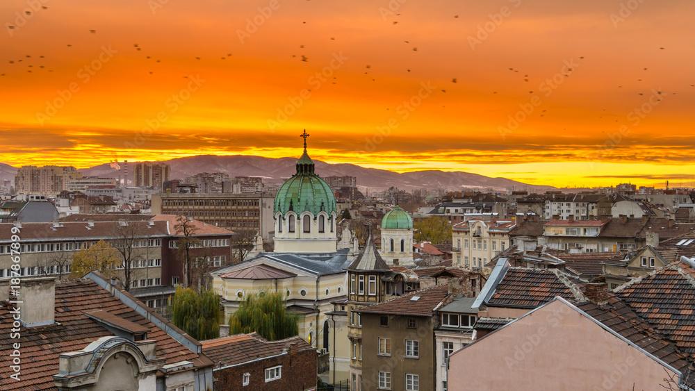Fototapety, obrazy: Sofia Bulgaria Beautiful sunset over Temple St. St. Cyril and Methodius against the backdrop of Vitosha Mountain