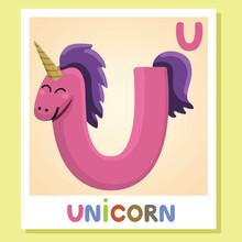 U Is For Unicorn. Letter U. Un...