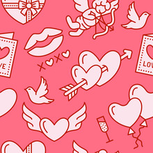 Valentines Day Seamless Pattern. Love, Romance Flat Line Icons - Hearts, Chocolate, Kiss, Cupid, Doves, Valentine Card. Pink Wallpaper For February 14 Celebration.