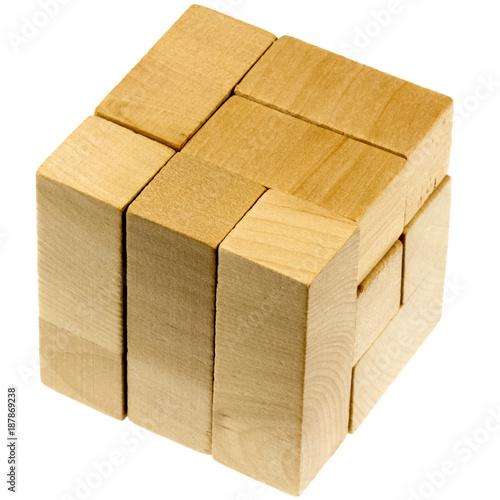 cube casse-tête en bois Wallpaper Mural
