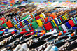 canvas print picture - Colorful handmade bracelets, bangles at local craft market in South Africa