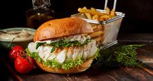 Gourmet Seafood Codfish Burger...