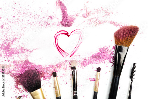 Lipstick Drawn Heart And Brushes