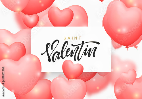 Saint valentin background with pink color balloons in the form of ...