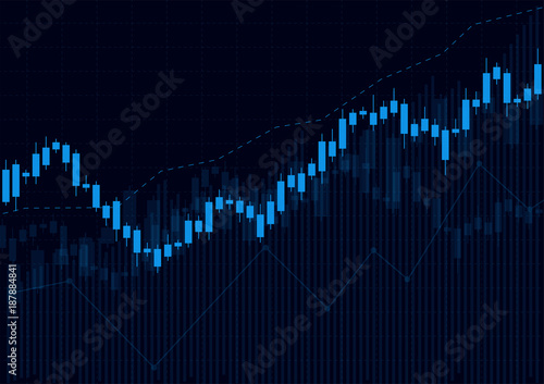 Business candle stick graph chart of stock market investment trading on dark background design Fototapete